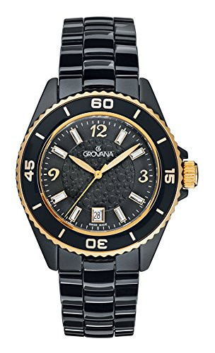 Grovana Women's 'Ladies Dressline' Swiss Quartz Ceramic Casual Watch, Color:Black (Model: 4001-1157)