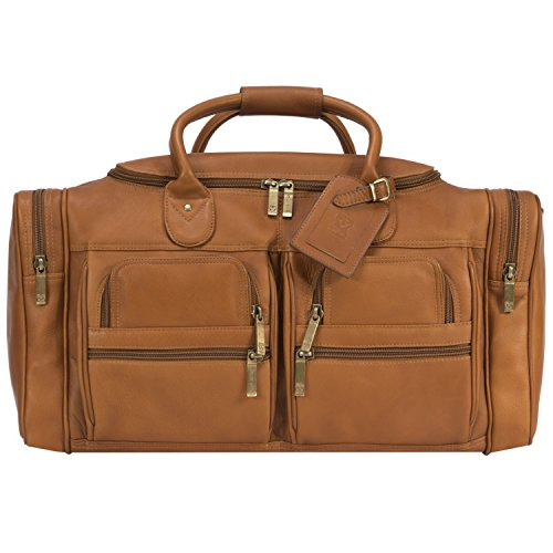 Muiska Leather 22' Large Executive Sport Duffel Travel Bag with Multi Compartment Pockets and Shoulder Strap, Saddle