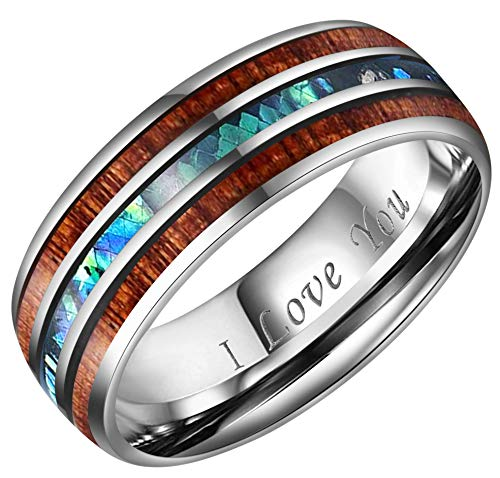 (CROWNAL 8mm Rare Koa Wood and Abalone Shell Inlay Tungsten Carbide Ring Men Women Wedding Band High Polished Engraved I Love You Size 7 to 17 (8mm,9))