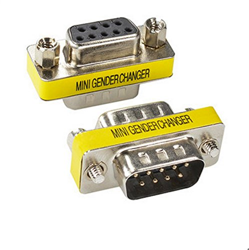 BeElion 2PCS 9Pin Serial RS232 DB9 Male to Female Cable Gender Connectors Coupler Adapter,Null Modem