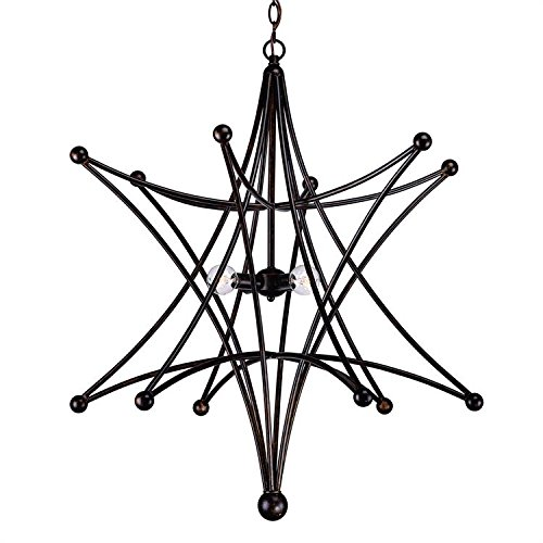 (Crystorama 9236-EB Transitional Four Light Chandeliers from Astro collection in Bronze/Darkfinish,)