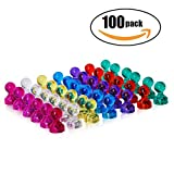 100-pack Push Pin Magnets, Ideal for Whiteboard, Refrigerator, Map and Calendar, 7 Assorted Colors Office Magnetic Push Pins