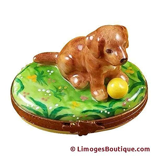 CHOCOLATE LABRADOR - LIMOGES BOX AUTHENTIC PORCELAIN FIGURINE FROM FRANCE ()