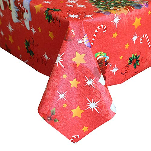 LEEVAN Heavy Weight Vinyl Rectangle Table Cover Wipe Clean PVC Tablecloth Oil-Proof/Waterproof Stain-resistant-54 x 78 Inch(Snowman-Red) -