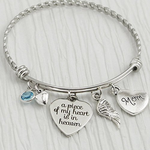 Memorial Jewelry, A piece of my heart is in heaven Bangle Bracelet, Expandable Charm bracelet, Angel Wing Jewelry for Woman, Remembrance Stones