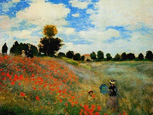 50- 4000 Hand Painted Art Paintings by College Teachers – Claude Monet Poppies at Argenteuil Oil Painting Reproduction for Wall Decor Canvas Old Famous -Size18