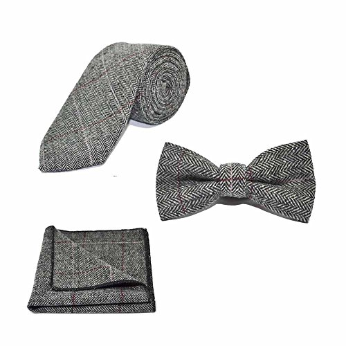 Luxury Herringbone Pewter Grey Bow Tie, Necktie & Pocket Square Set - Tweed, (Luxury Herringbone Necktie)