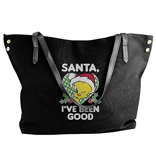 Christmas Tweety Bird Santa Stylish Women Shoulder Bags Casual Handbag Canvas Bags Tote (Tweety Handbag)