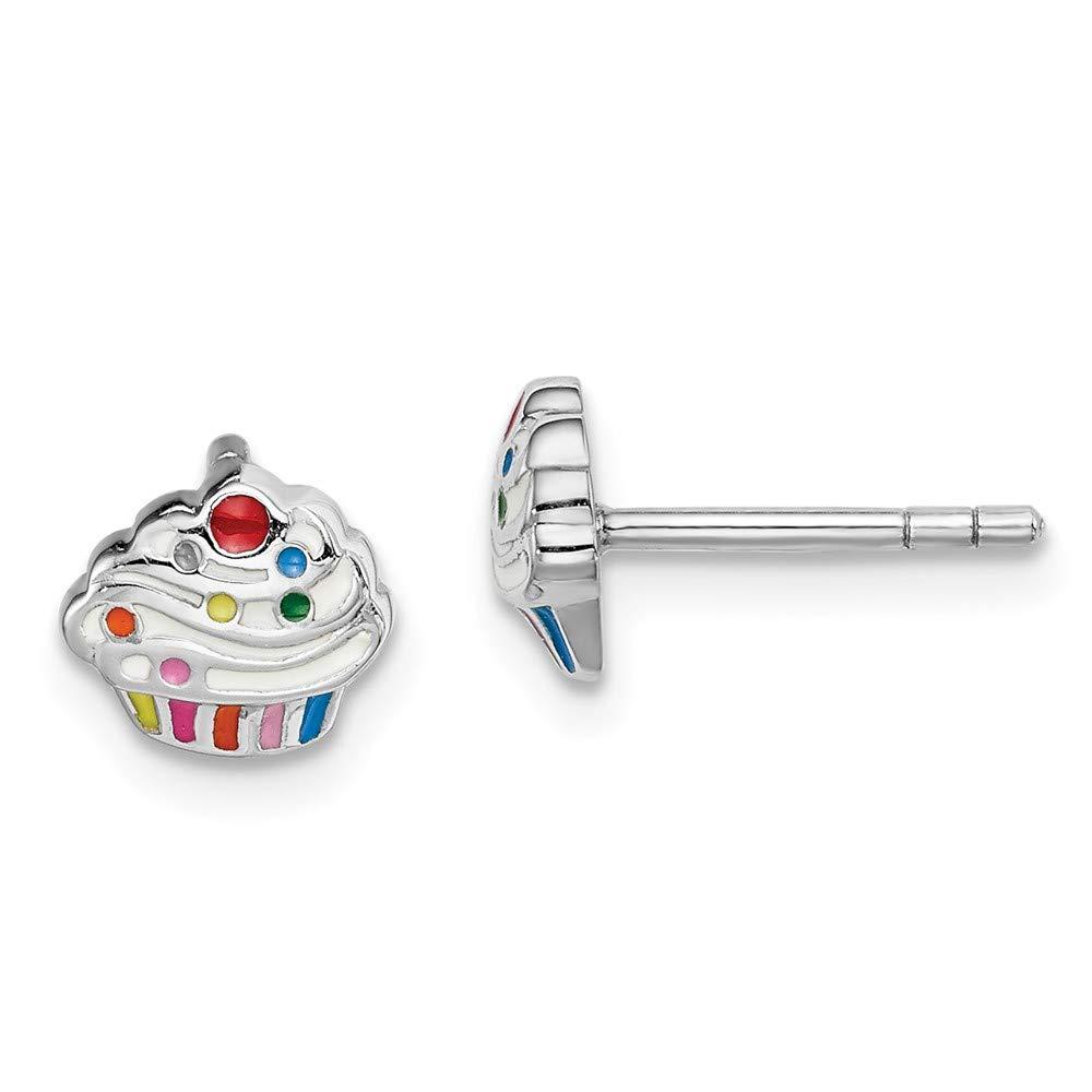 925 Sterling Silver Rhodium-plated Polished Enameled Cupcake Stud Post Earrings