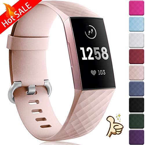 Maledan Compatible with Fitbit Charge 3 Bands, Small, Pink Sand