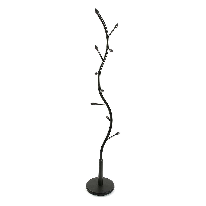 Versa 18790001 Perchero de pie Negro, Metal lacado, 185x32x32 cm, 9 colgadores