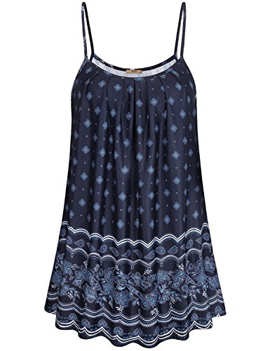 Miusey Paisley Shirt for Women, Ladies Cute Flowy Tops Pleated Neckline Printed Patterned Bohemian Swing Fit and Flare Camisoles Dress Breezy Perfect Cool Style Black L (Tops Patterned)