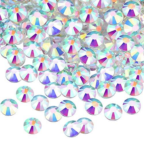 Fix Flat Back Rhinestones Crystal - 1440 Pack Crystal Flat Back Rhinestone Round Diamante Gems, Non-Self-adhesive (Clear AB, 5 MM)