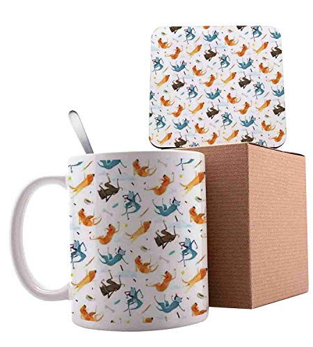 Funny Dogs Flying with Food Bowl and Bones Pets Companion Illustration Slate Blue Ginger and White Ceramic Cup with Spoon & Coaster Creative Morning Mug Milk Coffee Tea Unique Porcelain Cup Mug 11oz