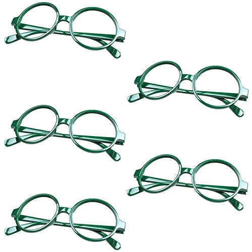 5 X FancyG® Retro Geek Nerd Style Round Shape Glass Frame NO LENSES - Green (Cool Nerd Glasses)
