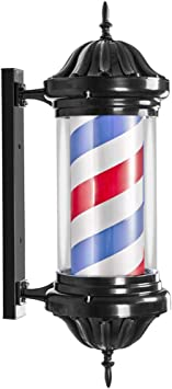 Red White Blue Stripes Outside Illuminating Rotating Hair Salon Hairdressing Sign Barber Shop Sign,Waterproof Save Energy Wall Mountable Led Barber Pole Retro Barbershop Pole Light Color : B