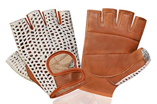 Prime Sports Real Soft Leather Crochet Fingerless Driving Weight Training Cycling Wheelchair Gloves W-049 -