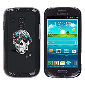 Be Good Phone Accessory // Dura Cáscara cubierta Protectora Caso Carcasa Funda de Protección para Samsung Galaxy S3 MINI NOT REGULAR! I8190 I8190N // Teal Rose Grey Skull Pink Tattoo