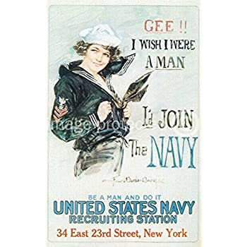 Id Join The Navy WW1 US Military Propaganda Poster