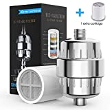 10 Stage Shower Filter, Sarissa Universal Shower Water Filter with 2 Replaceable Filter Cartridge, for any Shower Head and Handheld Shower, Remove Chlorine, Heavy Metals, Impurities and Sulfur Odor