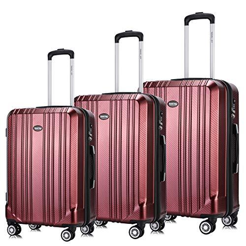 Luggage Set Expandable Premium Carbon Fiber Suitcase 3 Piece Set TSA Lightweight Spinner Carry On Luggage - On Burgundy Luggage Carry