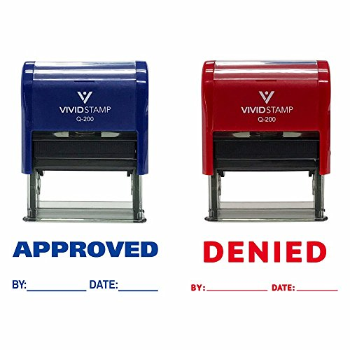 APPROVED/DENIED By Date Self Inking Rubber Stamp - 2 PACK (Blue Ink/Red Ink) Medium ()