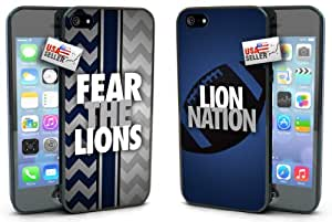 """Fear the Lions and """"Lion Nation"""" Chevron Sports Black Plastic Cover Case COMBO TWO PACK for iPhone 5 or 5s"""