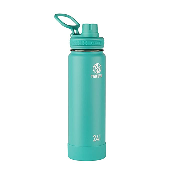 Takeya Actives Insulated Stainless Water Bottle with Insulated Spout Lid, 24oz, Teal