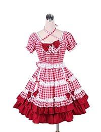 antaina Red Plaid Cotton Neck Strip Bow Ruffle Sweet Victorian Lolita Dress