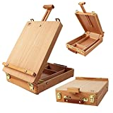 Portable Box Easel Sketch Box Art Supplies Painting Storage Box, Adjust Wood Tabletop Easel with Divided Storage Compartment for Drawing & Sketching Student Beach