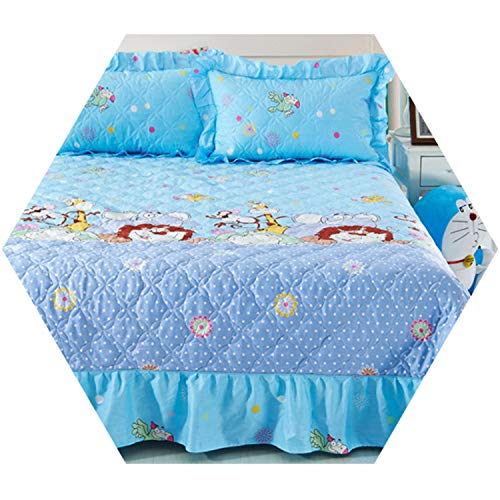 Home Textile Winter Quilted Bedspread Ruffles Pillowcase 100% Cotton Bedskirt Flower Bed Cover Lion Bedding King