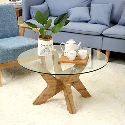 Ivinta Glass Coffee Table Round Industrial Design with Wood Frame for Living Room Home Dining Room,32inch (Coffee Tables Glass Low)
