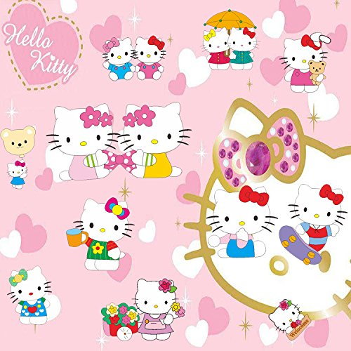 GoBuyMall Peel and Stick Wall Decals Stickers for Children & Kids & Baby & Nursery Wall Art Room Decor (Hello Kitty) -