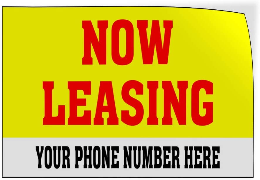 Custom Door Decals Vinyl Stickers Multiple Sizes Now Leasing Yellow Phone Number Business Now Leasing Outdoor Luggage /& Bumper Stickers for Cars Yellow 30X20Inches Set of 5