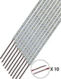 HAMRVL 10pcs Super Bright Rigid Hard Strip White 8520 Bar Light 12v 50CM 36LEDs For Counter cabinet decoration (white 8520)