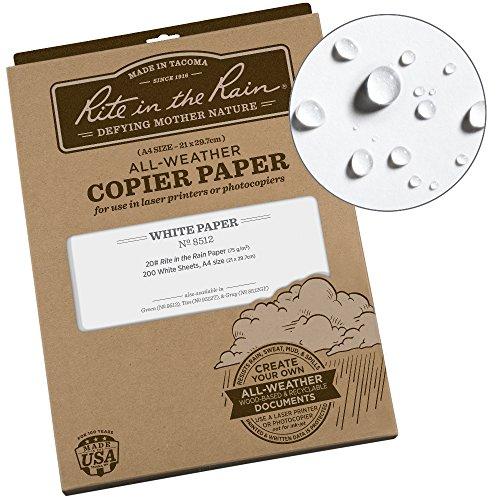Rite in the Rain Weatherproof Laser Printer Paper, A4 Paper Size 21 x 29.7cm, 20# White, 200 Sheet Pack (No. 8512) by Rite In The Rain