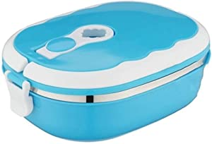 Xf PP+304 Stainless Steel Portable Food Warmer School Students Lunch Box Case Thermal Insulated Container (Color : Blue, Size : First Floor)