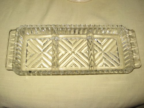 rly American Pattern Glass (EAPG) - Pressed Glass - Triple Divided Rectangle Relish Serving Dish ()