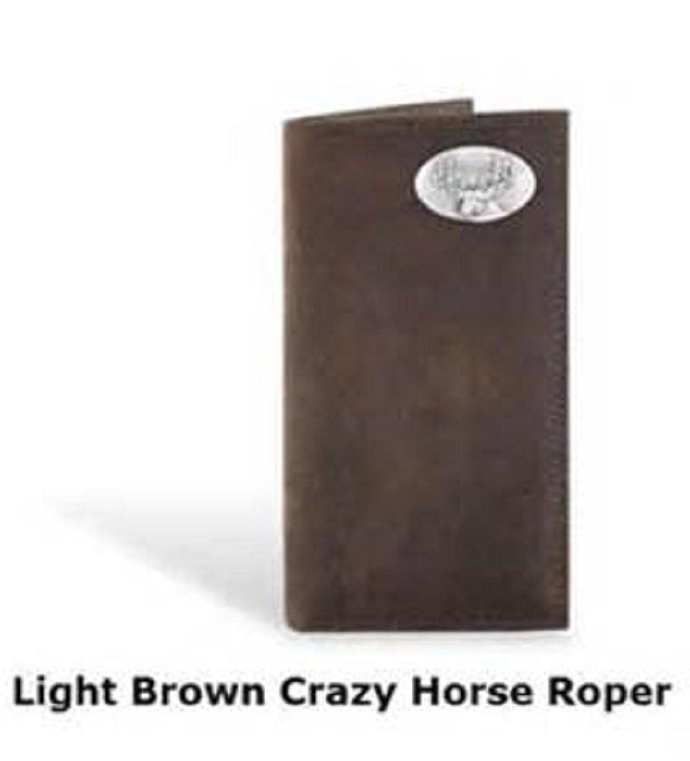 Leather Crazy Horse Brown Long Roper Wallet Deer