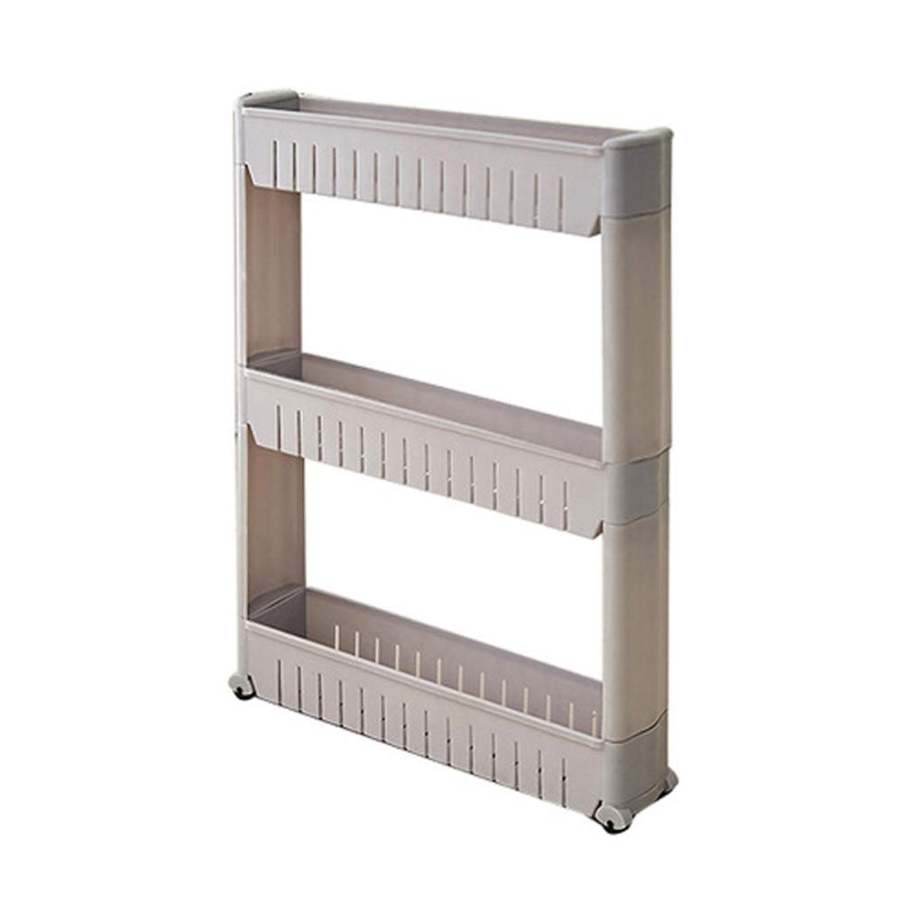 Meltset Slide Out Storage Tower for Laundry Room Slim Storage Cart with Wheels Laundry Cart 3 Tiers Khaki