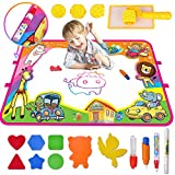 Large Aqua Doodle mat, Meland Water Drawing mat Toddlers Painting Board Writing mat in 6 Colors with 4 Magic Pens & 8 Drawing Molds– Best Learning Gift Educational Toy for Kids (34.25 x 22.4)