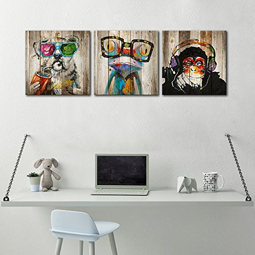 "Kolo Wall Art Animals Frog Gorilla Dog Painting Picture on Vintage Wood Background Printed on Canvas Home Wall Decor Art Living Room Bedroom Wall Art (12""x12\""x3, Friends)"