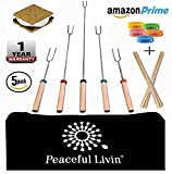 Peaceful Livin' Marshmallow Roasting Sticks for Smores +Anti-Mosquito Bracelets / 20 Bamboo Skewers - Family Campfire Bundle BBQ Kabobs Set - 32'' Long Extending Telescopic Hot Dog Roaster Forks