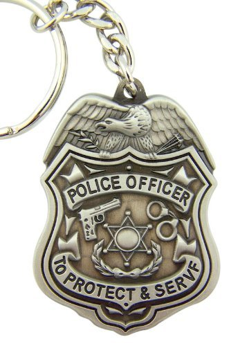 Eagle Bald Keychain (Pewter To Protect and Serve Police Officer Medal with Bald Eagle Key Chain, 2 Inch)