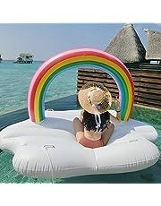 Ginkago Inflatable Swimming Pool Float Giant Inflatable Rainbow Cloud Float Raft Swimming Toys Lounger Beach Pool Fun 220*145*135cm