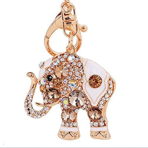 Reizteko Lucky Elephant Colorful Opal Rhinestone Plating Women Car/Bag Keychain Purse Charm - Gold