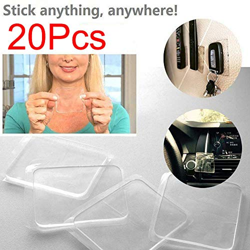 SUJING 20PCS Universal Non-Slip mats, Sticky Anti-Slip Gel Pads, Stick to Car Golf Cart Boating Kitchen Cabinets etc, Holds Cell Phones Sunglasses Speakers etc