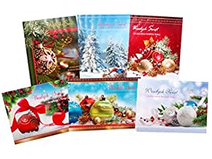 Traditional Polish Christmas Greeting Cards with Glitter, Set of 6