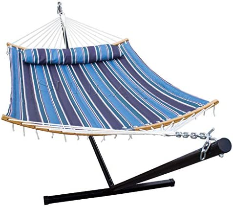 SUNLAX Double Hammock Stand with 12FT Portable Steel Stand and New Curved Bamboo Spreader Bars, Detachable Pillow, Quilted Fabric Swing, Horizon Blue