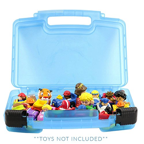 Small Figure Carrying Case - Life Made Better Little People Toy Storage Carrying Box, Mini Figure Organizer, Stores Figurines and Accessories, Blue